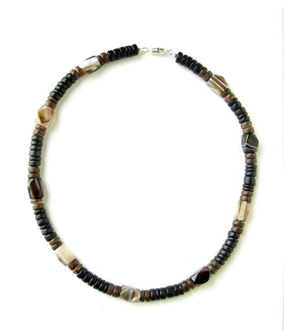 Mens surfer necklace agate and wood authentic men by for Mens jewelry stores near me