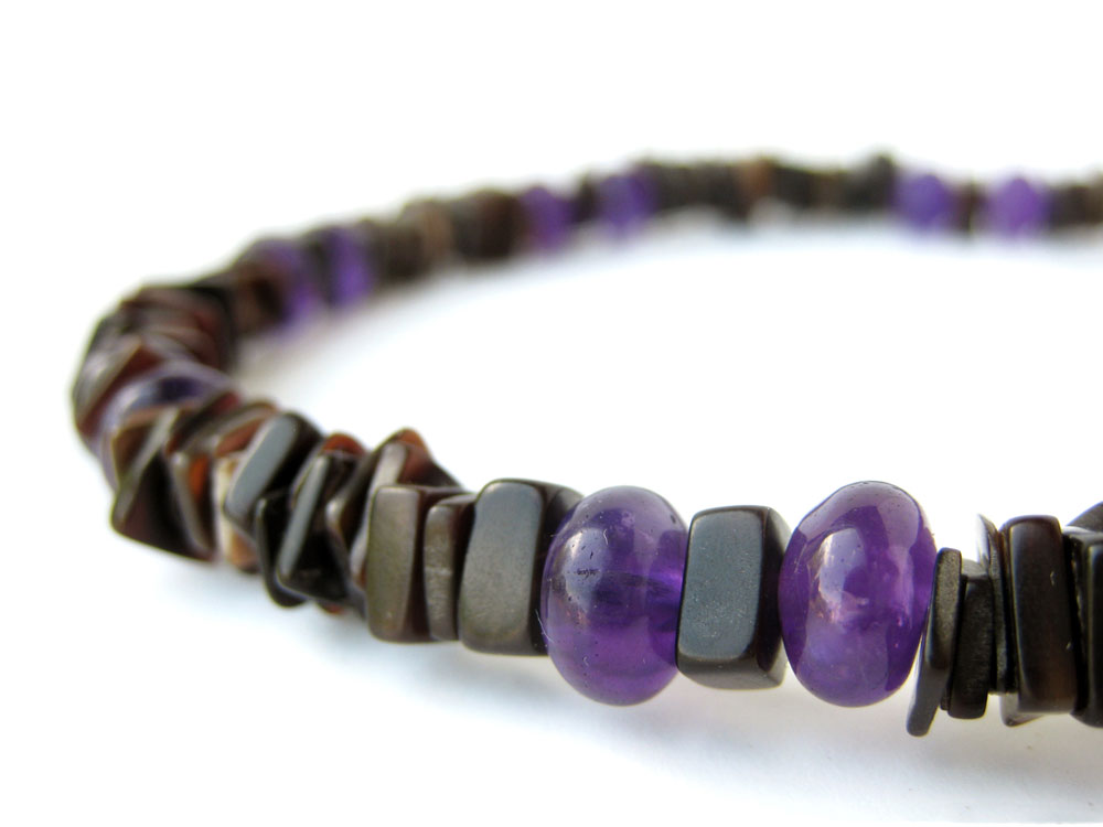 Mens Surfer Necklace Midnight Amethyst Authentic Men by Jenny Hoople