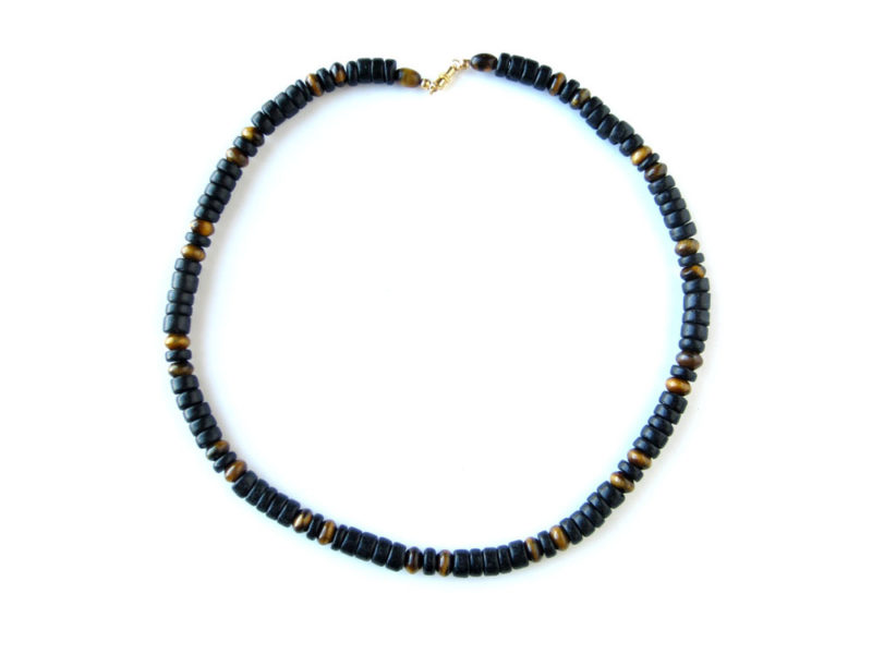 Cat's Eye tiger eye mens surfer necklace by Authentic Men