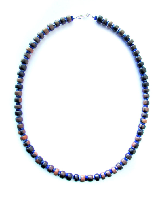 Mens surfer necklace ebony and lapis authentic men by for Mens jewelry stores near me