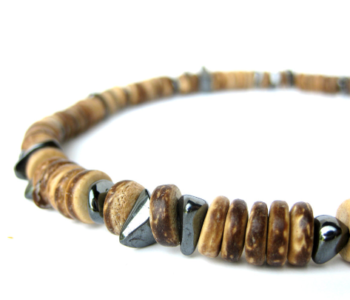 Mens wood and hematite necklace by Authentic Men