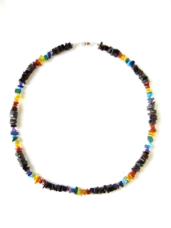Mens surfer necklace rainbow surf authentic men for Mens jewelry stores near me