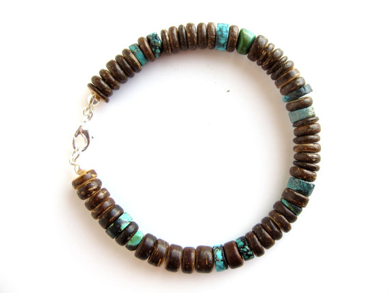 Mens surfer bracelet tribal turquoise authentic men by for Mens jewelry stores near me