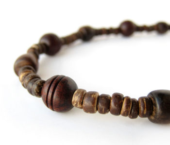 Mens wooden bead necklace by Authentic Men