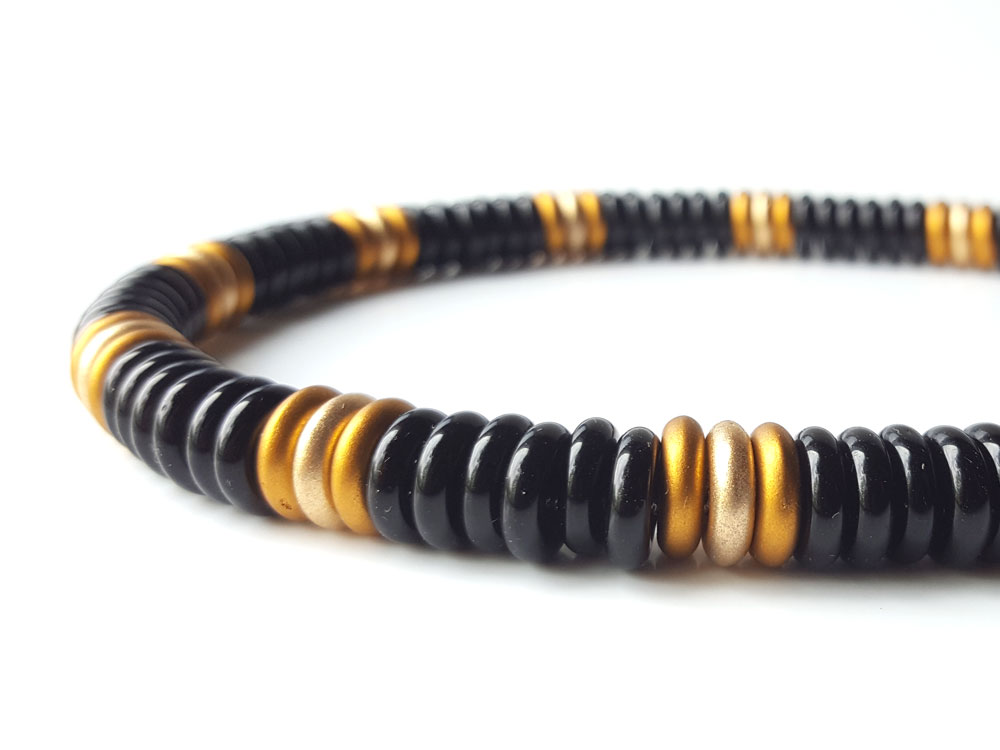 Mens Designer Necklace Black and Gold Glass Authentic Men by