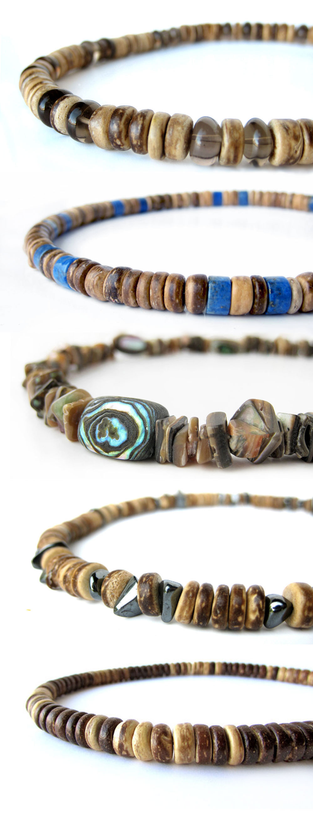 Wholesale men's beaded necklaces by Jenny Hoople